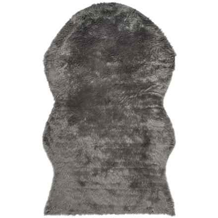 Safavieh Faux-Fur Sheepskin Shaped Rug - 5x8' in Grey - Closeouts