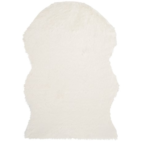 Safavieh Faux-Fur Sheepskin Shaped Rug - 5x8' in Ivory