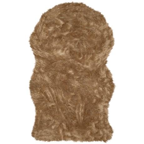 Safavieh Faux Sheepskin Round Rug - 3x5' in Camel