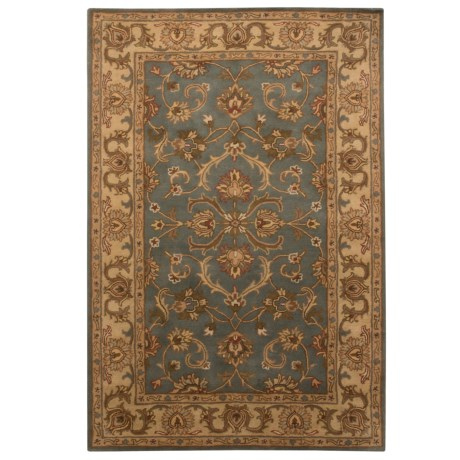 Safavieh Heritage Collection Blue and Beige Area Rug - 5x8', Hand-Tufted Wool in Blue/Beige