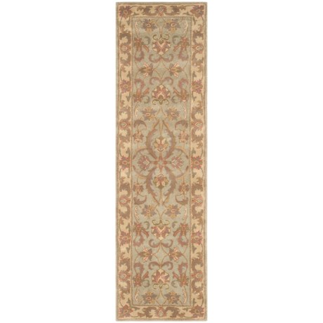 Safavieh Heritage Collection Blue and Beige Floor Runner - 2?3?x8? Hand-Tufted Wool