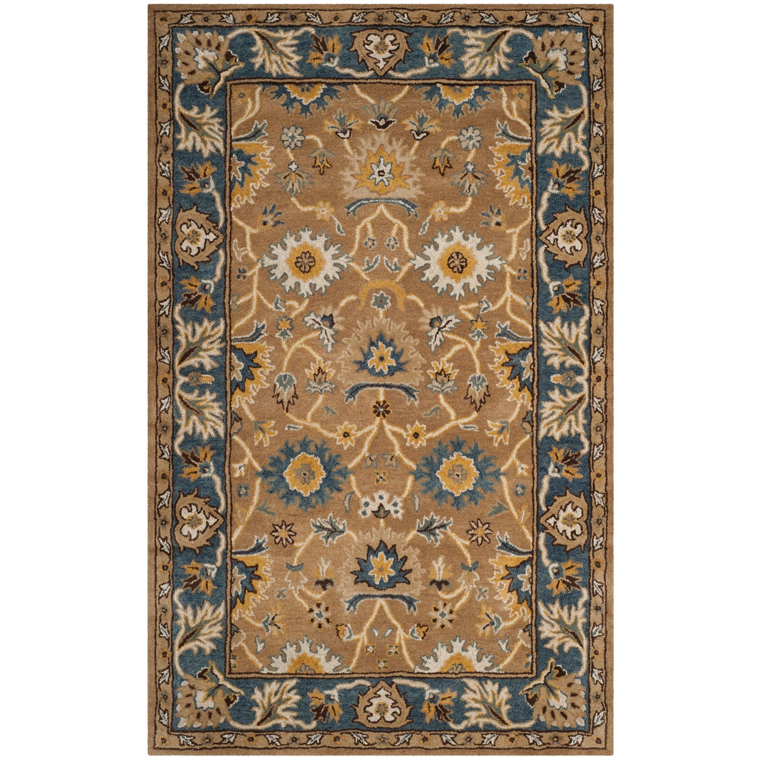 tufted area rugs safavieh heritage collection camel and blue area rug 5x8 2958
