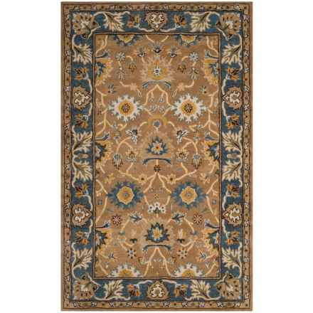 Safavieh Heritage Collection Camel And Blue Area Rug 5x8 Hand Tufted Wool