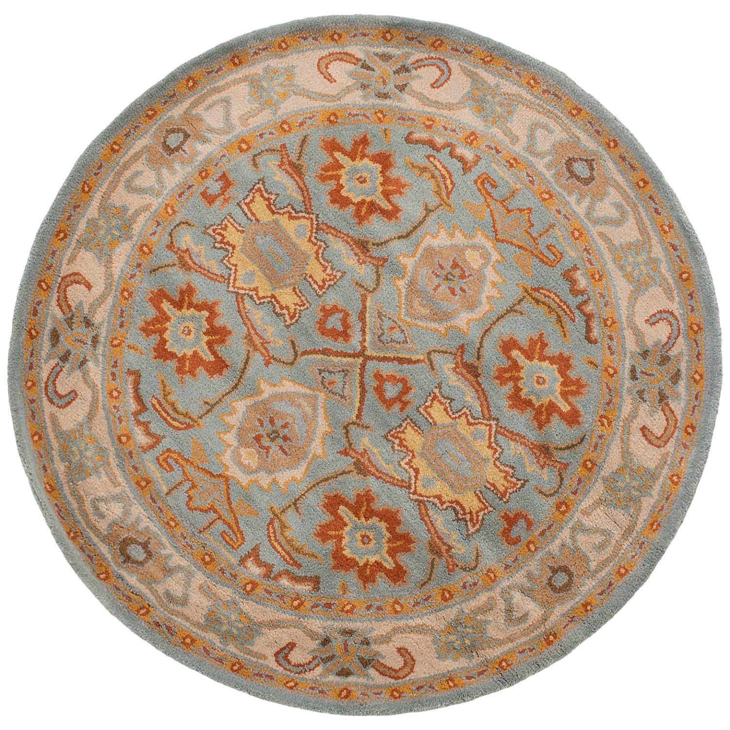 Stella Collection Hand Tufted Area Rug In Beige Light: Safavieh Heritage Collection Light Blue And Ivory Round