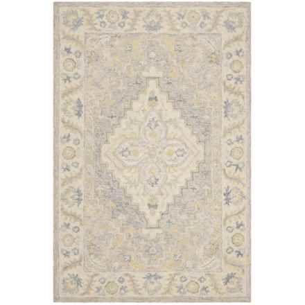 Safavieh Medallion Beige and Grey Area Rug - 4x6', Micro-Pile Wool in Beige/Grey - Closeouts