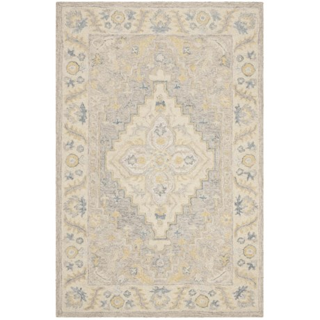 Safavieh Medallion Beige And Grey Area Rug 4x6 Micro Pile Wool In
