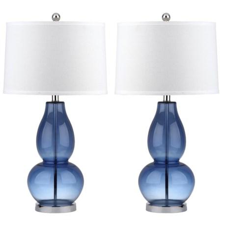 Safavieh Set of 2 Mercurio Double Gourd Lamps - 28.5 in Blue