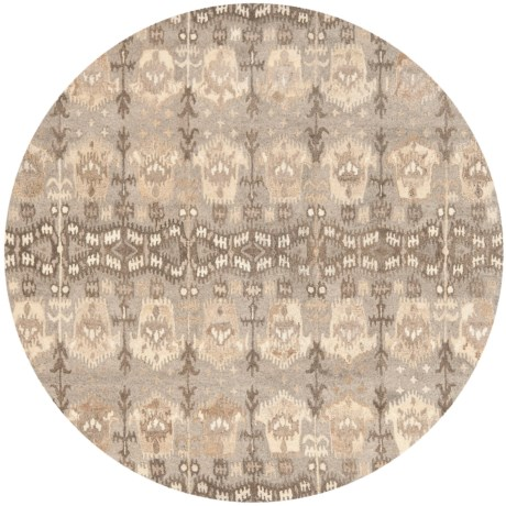 Safavieh Wyndham Collection Arrows Multi-Natural Round Area Rug - 7', Hand-Tufted Wool in Natural/Multi