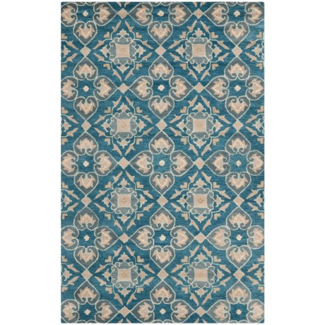Safavieh Wyndham Collection Blue and Grey Medallion Area Rug - 5x8', Hand-Tufted Wool in Blue/Grey