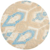 Safavieh Wyndham Collection Blue and Ivory Round Area Rug - 7', Hand-Tufted Wool