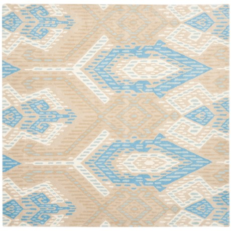 Safavieh Wyndham Collection Blue and Ivory Square Area Rug - 7x7', Hand-Tufted Wool in Blue/Ivory