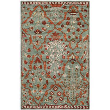Safavieh Wyndham Collection Blue and Rust Area Rug - 5x8', Hand-Tufted Wool in Blue/Rust