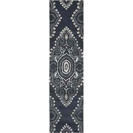 """Safavieh Wyndham Collection Dark Grey and Ivory Floor Runner - 2'3""""x9', Hand-Tufted Wool in Dark Grey/Ivory - Closeouts"""