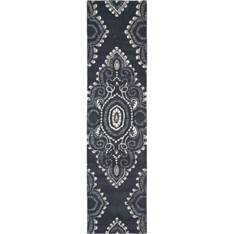 """Safavieh Wyndham Collection Dark Grey and Ivory Floor Runner - 2'3""""x9', Hand-Tufted Wool in Dark Grey/Ivory"""