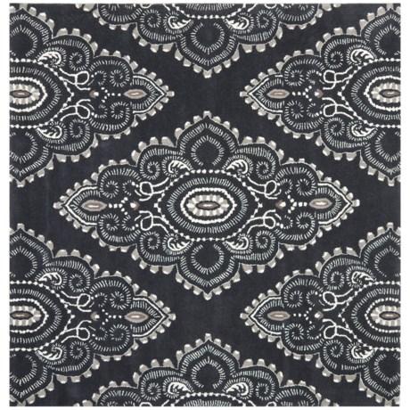 Safavieh Wyndham Collection Dark Grey and Ivory Square Area Rug - 7x7', Hand-Tufted Wool in Dark Grey/Ivory
