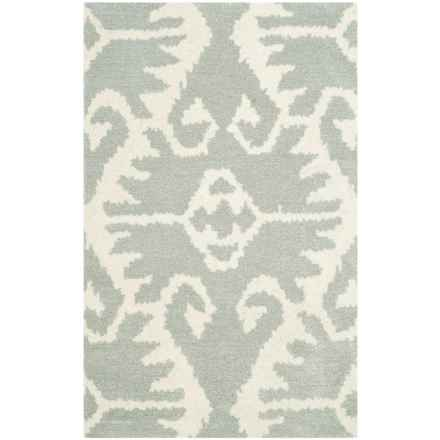 """Safavieh Wyndham Collection Grey and Ivory Floor Runner - 2'6""""x4', Hand-Tufted Wool in Grey/Ivory - Closeouts"""