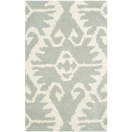 """Safavieh Wyndham Collection Grey and Ivory Floor Runner - 2'6""""x4', Hand-Tufted Wool in Grey/Ivory"""