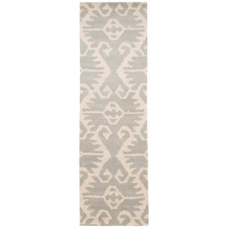 Safavieh Wyndham Collection Grey and Ivory Floor Runner - 2?3?x9? Hand-Tufted Wool