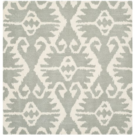 Safavieh Wyndham Collection Grey and Ivory Square Area Rug - 5x5', Hand-Tufted Wool in Grey/Ivory