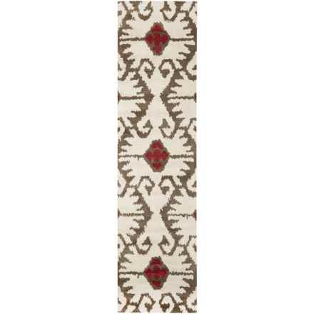 "Safavieh Wyndham Collection Ivory and Brown Floor Runner - 2'3""x9', Hand-Tufted Wool in Ivory/Brown - Closeouts"