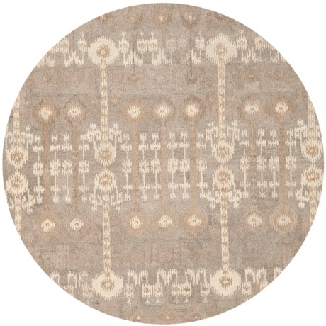 Safavieh Wyndham Collection Multi-Natural Round Area Rug - 7', Hand-Tufted Wool in Natural/Multi