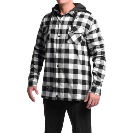 Saga Flannel Jacket - Insulated, Hooded (For Men) in White/Black - Closeouts