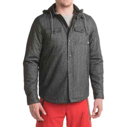 Saga Hooded Flannel Jacket - Insulated (For Men) in Black - Closeouts