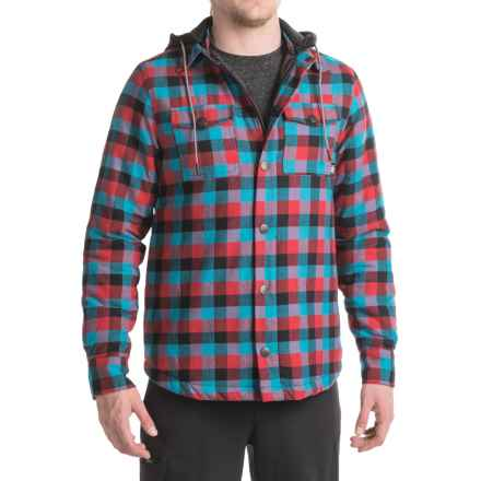 Saga Hooded Flannel Jacket - Insulated (For Men) in Red/Blue - Closeouts