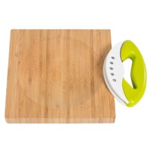 Sagaform Herb Cutter with Bamboo Board in Green/Bamboo - Closeouts