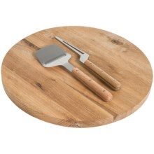 Sagaform Oak Lazy Susan Set with Cheese Knife and Slicer - 3-Piece in Oak - Closeouts