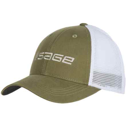 Sage Mesh Back Trucker Hat (For Men) in Olive - Closeouts