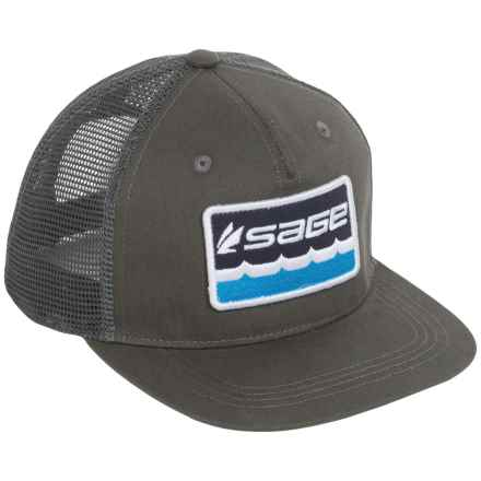 Sage On the Water Trucker Hat (For Men) in Charcoal - Closeouts