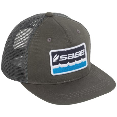 Sage On the Water Trucker Hat (For Men) in Charcoal
