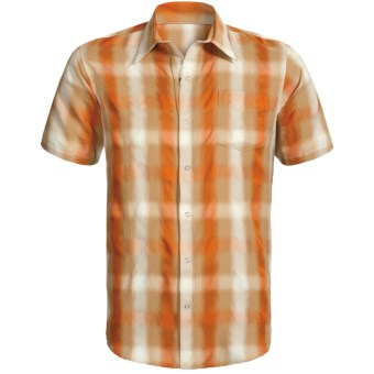 Sage Plaid Shop Shirt - UPF 30+, Short Sleeve (For Men) in Burnt Orange