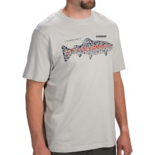 Sage Rainbow Trout Flies T-Shirt - Short Sleeve (For Men) in Light Gray - Closeouts