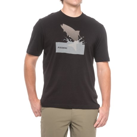 Sage Splashing Tarpon T-Shirt - Short Sleeve (For Men) in Black