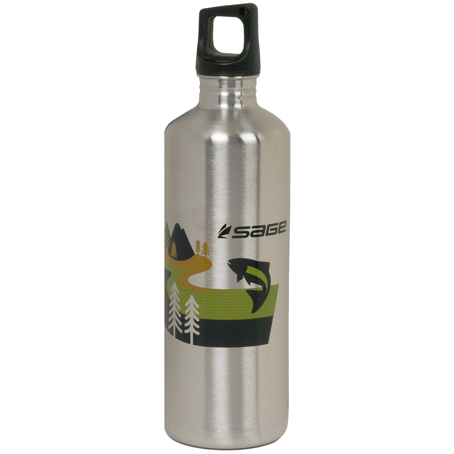 Sage stainless steel water bottle 24 fl oz in sage jumping fish