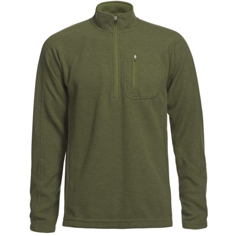 Sage Wool Pro Sweater - Zip Neck (For Men) in Sage
