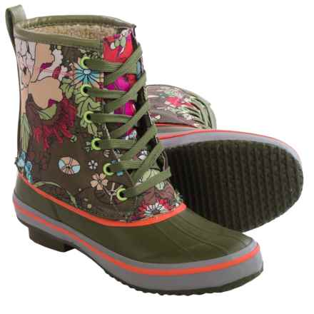 Sakroots Duet Rubber Duck Boots - Waterproof (For Women) in Olive Flower Power - Closeouts