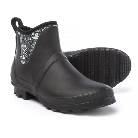 Sakroots Mano Ankle Rain Boots - Waterproof (For Women) in Black And White Spirit Desert