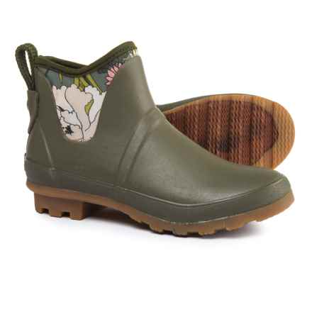 Sakroots Mano Ankle Rain Boots - Waterproof (For Women) in Olive Flower Power - Closeouts
