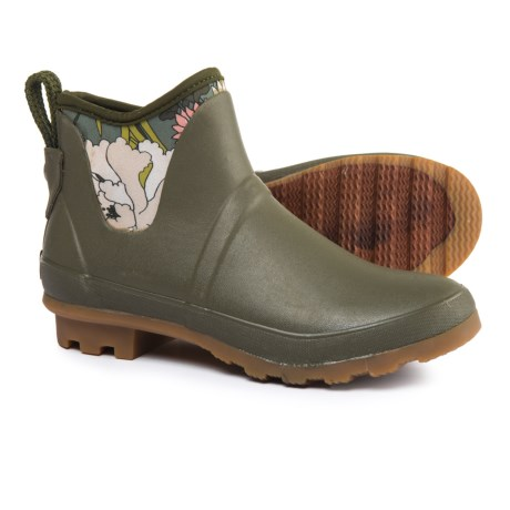 Sakroots Mano Ankle Rain Boots - Waterproof (For Women) in Olive Flower Power
