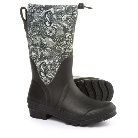 Sakroots Mezzo Tall Rain Boots - Waterproof (For Women) in Black And White Spirit Desert