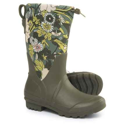 Sakroots Mezzo Tall Rain Boots - Waterproof (For Women) in Olive Flower Power - Closeouts
