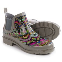 Sakroots Rhyme Rubber Ankle Rain Boots - Waterproof (For Women) in Charcoal One World - Closeouts