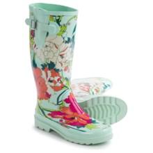 Sakroots Rhythm Rubber Rain Boots - Waterproof (For Women) in Seafoam Flower Power - Closeouts