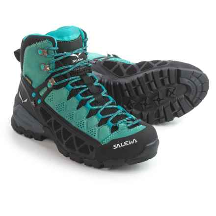 Salewa Alp Flow Mid Gore-Tex® Hiking Boots - Waterproof (For Women) in Venom/Bright Acqua - Closeouts