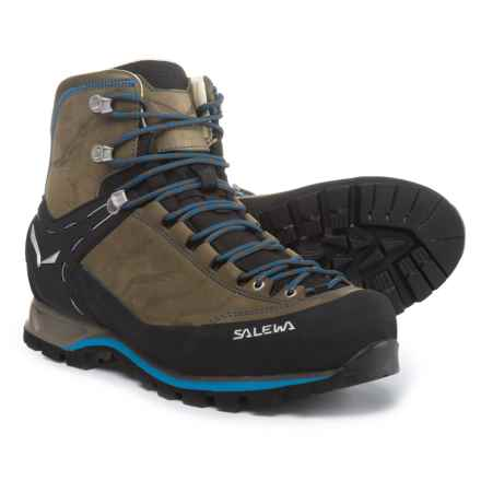 Salewa Mountain Trainer Mid Gore-Tex® Hiking Boots - Waterproof, Nubuck (For Men) in Walnut/Royal Blue - Closeouts