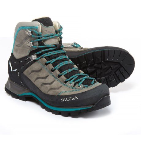 Salewa Mountain Trainer Mid Hiking Boots - Nubuck (For Women) in Pewter/Ocean