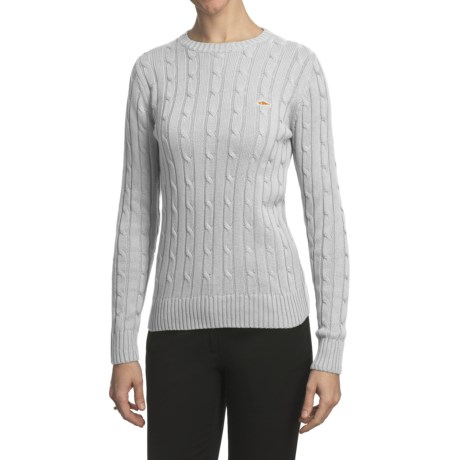 Salmon Cove Cotton Cable-Knit Sweater (For Women) in White